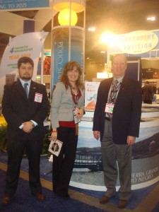 Paola Rojas and Javier Rojas from Argentina Mining together with Maurice Bichsel from CAMESE, exhibitor at Argentina Mining 2010.