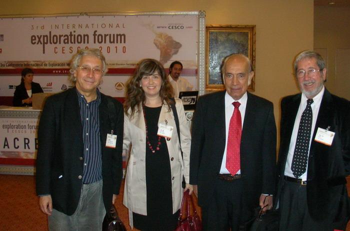 José Cabello, Geologo consultor y orador de AM en varias  oportunidades, Paola Rojas, Gerente de AM, Francisco Ortiz, consultor y  también orador, y Nivaldo Rojas, Director de AM.